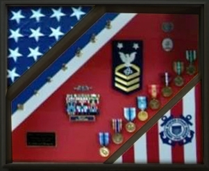 2 flags display cases, Coast Guard Flag Display, Plexiglas front Cover Black Wood