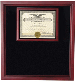 Display Cases with Certificate Holder