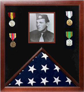 Photo Flag and Medal Display Case, Flag and Photo Frame, Military flag and photo display frame