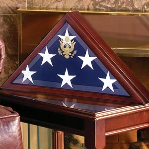 Casket flag display cases