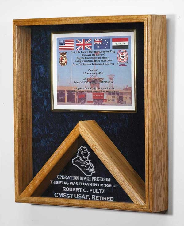 Memorial Flag Certificate Display Case Shadow Box Military flags