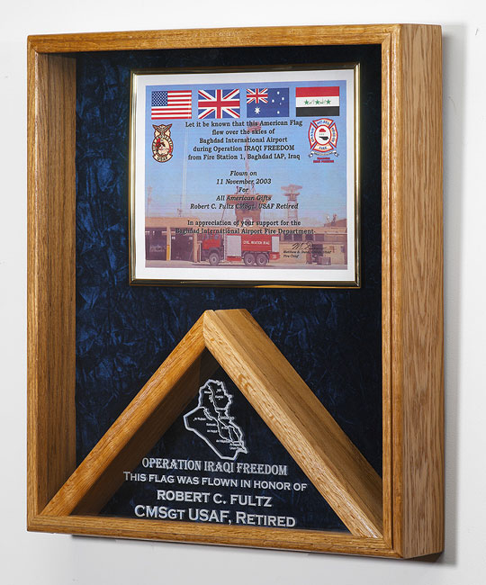 American Military Shadow Box and Flag Display, Award and flag cases