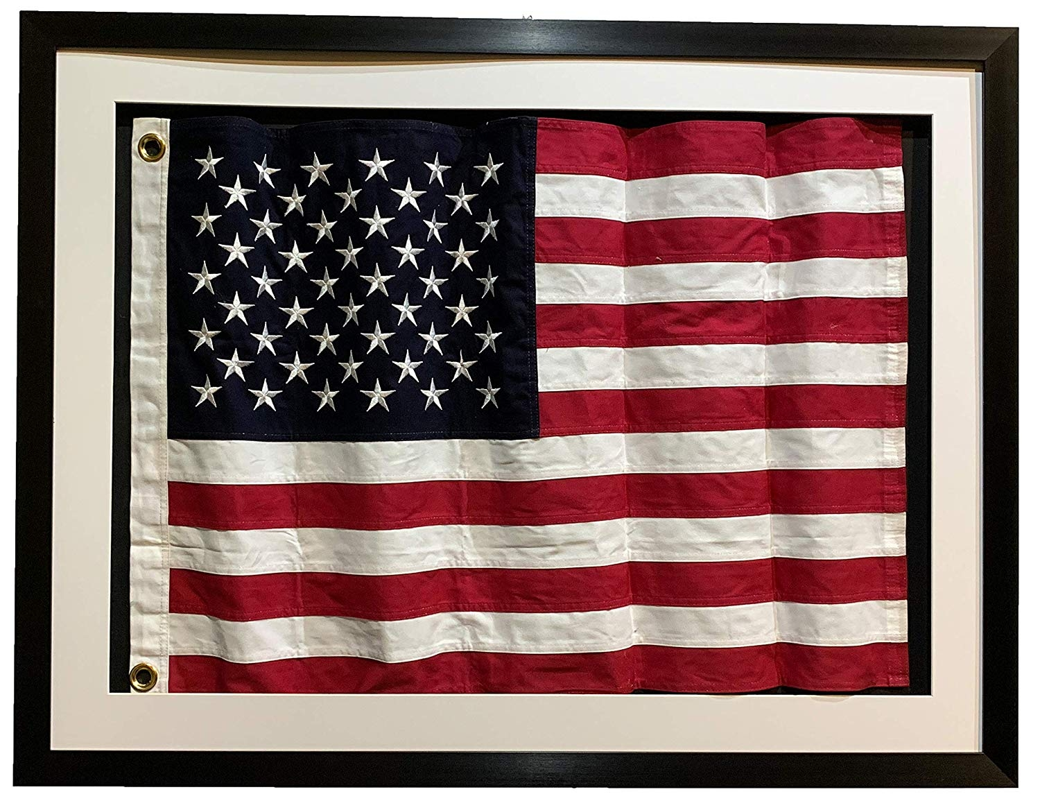 "Framed Size: 42X32"" Framed under real glass,waved flag in 3d shadow box"