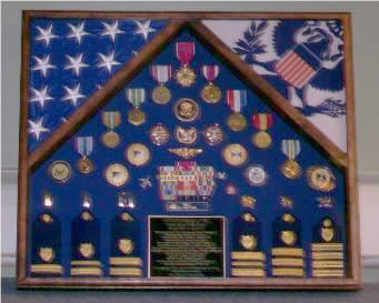 Military medal and flag display case